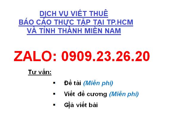 Dịch vụ viết thuê báo cáo thực tập tại Tp.HCM Uy Tín - Chất lượng - Giá rẻ